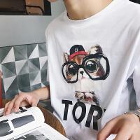 20180530212214361 新款 印花可爱小狗图案短袖 青少年 休闲潮流圆领卡通T恤