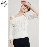 Lily春夏新款女装时尚OL白色短款斜领收腰针织衫118210B8705