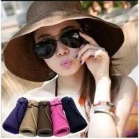 帽子夏天女士韩版草帽折叠遮阳帽太阳帽大沿帽沙滩帽防晒帽海边 S(54-56cm)