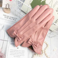 可触摸屏韩版可爱开车骑车学生保暖皮手套女加绒防风防雨