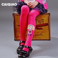 儿童连裤袜 女童打底裤春秋纯色烫花天鹅绒打底袜糖果色丝袜