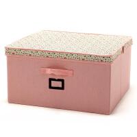 博纳屋大号收纳盒有盖储物箱 百纳箱50*47*26CM洛丽塔羽绒服收纳盒田园棉布收纳箱 整理箱收纳盒有盖储物箱