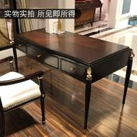 美式实木书桌欧式书桌椅轻奢抽屉书桌书房家具套装组合牛皮椅家用 否