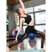 瑜伽裤女紧身夏季网纱高弹力高腰运动裤速干裤健身裤女健身服薄款 黑色