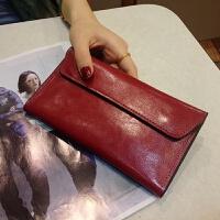 新款新款钱包女长款薄搭扣韩版女士钱包长款时尚简约翻盖钱夹
