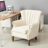 北欧布艺沙发客厅小户型简约现代卧室迷你田园美式单人沙发老虎椅