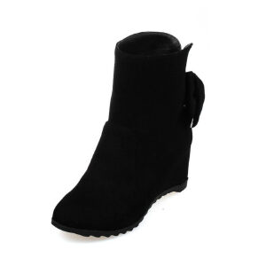 ELEISE美国艾蕾莎新品秋冬150-D-8韩版磨砂绒面内增高女士女靴短靴