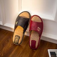亚麻凉拖鞋夏季室内防滑男女士情侣家居家用木地板PU皮拖鞋