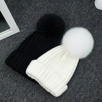 潮百搭保暖韩版儿童韩国套头针织帽帽子女狐狸毛球毛线帽