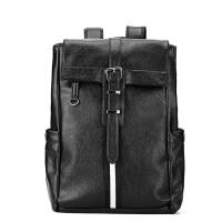 韩国新款双肩包男包英伦风牛皮背包商务休闲时尚全皮包书包电脑包 黑色潮