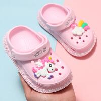 夏季儿童洞洞鞋女童可爱卡通男宝宝沙滩鞋防滑软底小孩包头凉拖鞋
