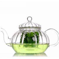 红兔子 耐热过滤玻璃茶壶套装 功夫茶具南瓜条纹壶