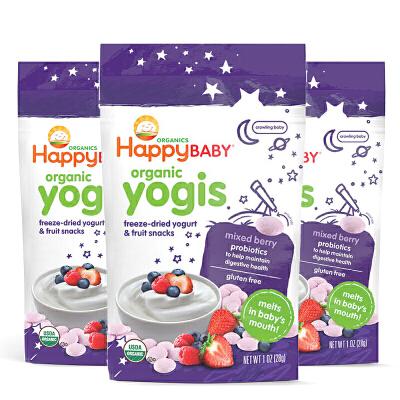 美国直邮 Happybaby禧贝 混合苺酸奶溶豆 28g*3袋 海外购 新老包装随 机发货,有效期至20年3月