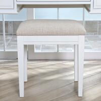 实木梳妆凳欧式化妆凳亚麻布软垫饰面换鞋凳白色欧式家卧室家具 白色