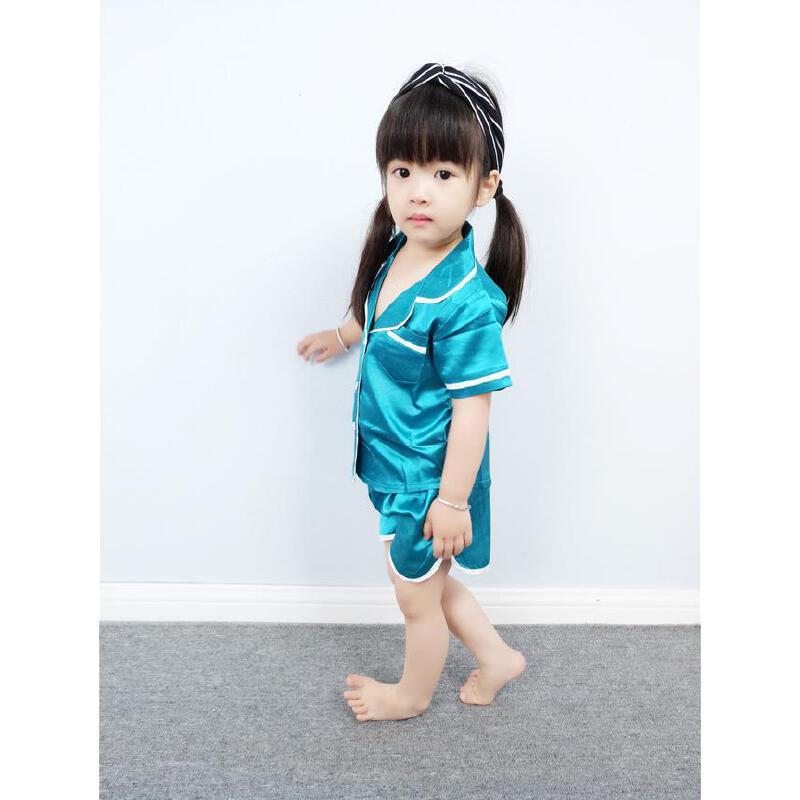 儿童绵绸睡衣家居服夏装短袖宝宝空调服两件套女童套装薄