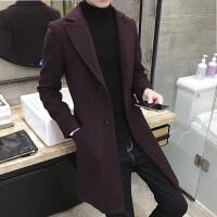 2017秋冬季新款男士毛呢外套呢子大衣韩版尼子中长款帅气妮子风衣