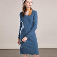 羊绒衫女中长款v领毛衣裙修身保暖长袖针织外套连衣裙