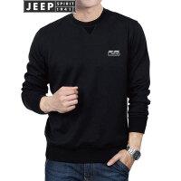 JEEP吉普卫衣男2018春季新款男装纯色运动打底衫男士圆领印花套头T恤男