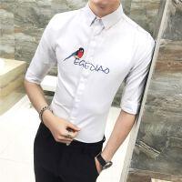 夏季男士短袖衬衫男韩版修身帅气白色正装商务薄款个性潮男刺绣花