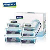 三光云彩/Glasslock 玻璃饭盒微波炉保鲜盒储物盒八件套GL09-8A