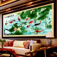 精准印花十字绣画 新款客厅系列富贵年年有余九鱼聚财 大幅九鱼图