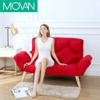 懒人沙发双人布艺沙发床叠服装店迷你沙发小户型卧室单人小沙发 红色