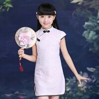 儿童装短袖蕾丝旗袍 女童大童唐装奇袍公主裙 小孩女孩中国风夏装