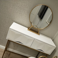 北欧化妆镜台式镜轻奢金色梳妆台镜子圆形镜网红ins公主镜装饰镜 其他