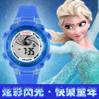 男孩 LED夜光日历表 儿童可爱三彩闪灯电子手表 女孩手表防水电子表