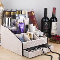家用桌面化妆品收纳盒 欧式创意大号木制抽屉护肤品梳妆台收纳盒