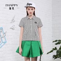 【2件5折】海贝2016夏季新款清新条纹短袖衬衫T恤