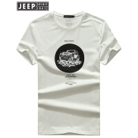 JEEP吉普短袖t恤男2018夏季新款全棉印花打底衫运动休闲圆领半袖上衣纯色T恤男