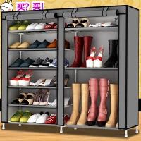 简易布鞋柜布柜子鞋架放靴子收纳柜一米内带拉链鞋橱简单