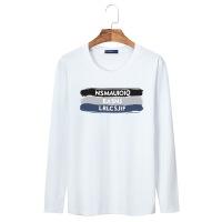 新款宽松学生运动男式长袖T恤男款棉印花圆领卡通衫大码打底衫