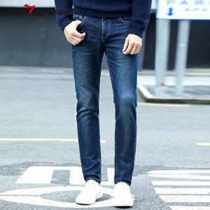 柒牌男装牛仔裤2017秋冬新款加厚牛仔裤舒适保暖时尚修身牛仔裤