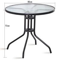 钢化玻璃圆桌洽谈桌椅组合户外小桌子现代简约铁艺餐桌休闲咖啡桌 【黑色】80公分圆桌(桌面无孔) 【水波纹玻璃】