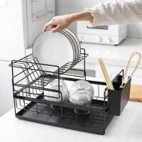 川岛屋厨房置物架多功能晾碗架放碗盘子架沥水架抽屉式碗碟收纳架