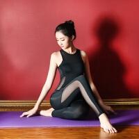 黑色性感运动连体瑜伽服女士拼接网纱空中瑜伽服连体长裤 黑色