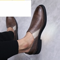 潮牌 夏季新款英伦皮鞋男布洛克雕花男鞋韩版休闲商务套脚皮鞋潮