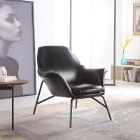 北欧休闲沙发椅单人 客厅懒人躺椅铁艺椅子简约咖啡厅皮艺