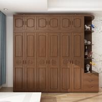 实木衣柜全实木 3 4 5 橡木中式卧室木质衣橱平开门原木大衣柜