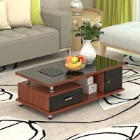 钢化玻璃茶几简约现代客厅木质小户型长方形桌子电视柜组合 1.2M茶几 柚木+黑抽屉+钢化玻璃 组装