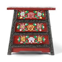 奇居良品 中式新古典实木家具 云轩藏式纯手工彩绘换鞋凳