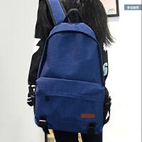 简约纯色帆布双肩包男女韩版潮学院风休闲背包中学生书包旅游大包