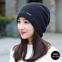 帽子女韩版潮加绒套头帽产后月子帽骑行保暖护耳毛线帽女
