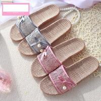 女士室内可爱地板凉拖鞋 韩版蕾丝镂空女士居家防滑厚底亚麻拖鞋