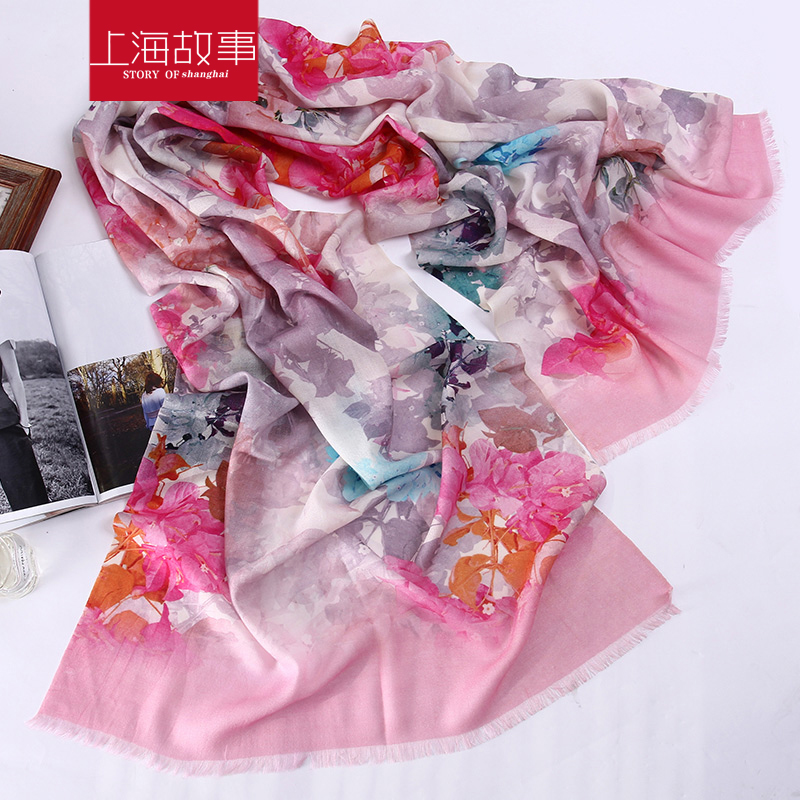 上海故事韩版冬季女款80支羊毛围巾百搭保暖披肩印花超大羊毛围巾
