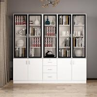 简约现代书柜书架书橱置物柜客厅转角书柜带门玻璃书柜储物组合柜