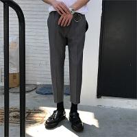 春夏季薄款男士休闲小西裤色哈伦九分裤休闲裤潮