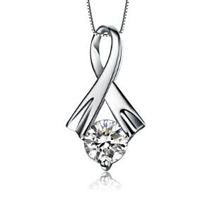 梦 梵雅 钻石项链  18K金30分钻石吊坠-简爱